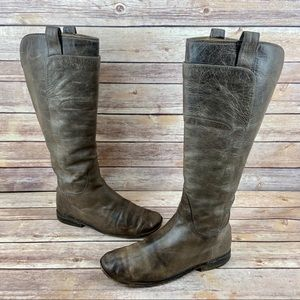 Frye Paige Tall Gray Leather Rugged Riding Boots